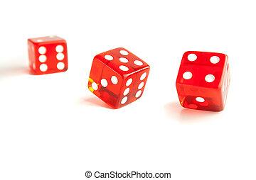 unfocused, afsluiten, rood, een, op, dobbelsteen, twee