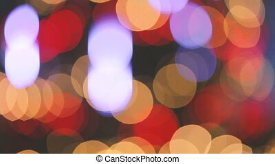 Unfocused video of blurred Christmas tree lights