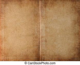 unfolded, boek, donker, bevlekte, papier