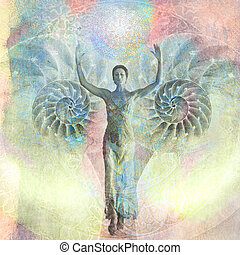 Unfolding Goddess - Woman with her arms raised walking from...