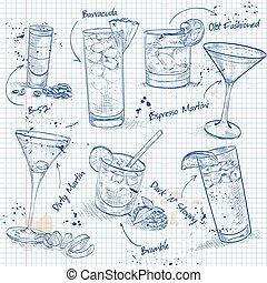 unforgettables, ensemble, page, cahier, cocktail