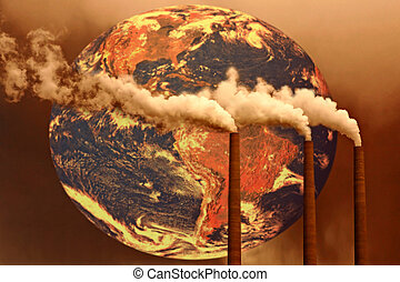 Concept of Future Planet Global Warming If Habits Do Not Change: Intentional Grain and Depth of Field