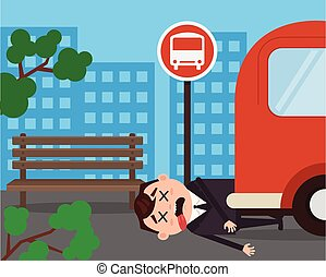 Unfortunately businessman office worker character hit by bus. Vector flat cartoon illustration