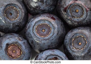 Unfrozen blueberries. Macro. Closeup. Shallow depth of view
