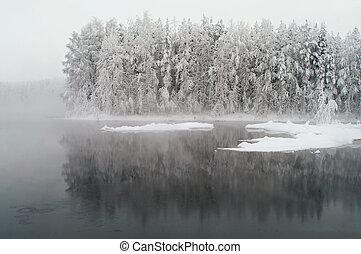 Unfrozen lake in winter season - Unfrozen lake in the winter...