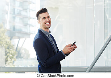 ung, affärsman, med, smart, ringa