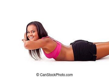 ung, afrikansk kvinna, in, ivrig, form, -, fitness, begrepp