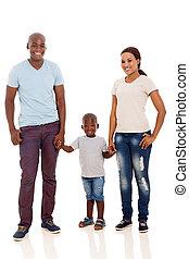 ung, afrikansk, par, och, son