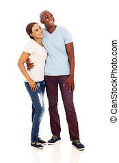 ung, afrikansk, par, sett upp
