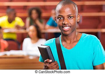 ung, amerikan, högskola,  student, afrikansk, manlig