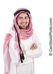 ung, arab, isolerat, på, den, vit fond