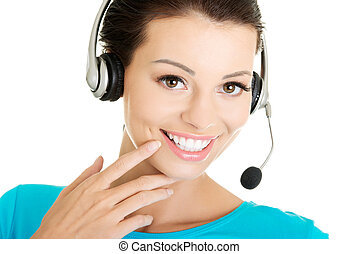 ung, assistent, le, call-center, vacker