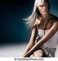 ung, blond, skönhet