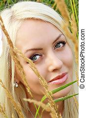 ung, blondin, på, natur