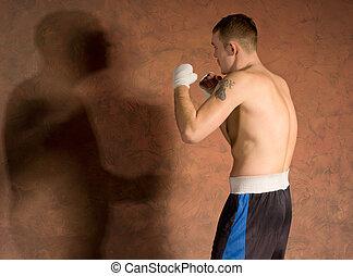 ung, boxare, in, lämplighet träna, arbete ut