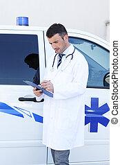 ung doktor, skrift, uden for, ambulance