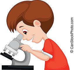 ung dreng, cartoon, bruge, mikroskop