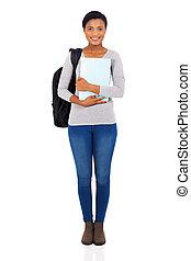 ung, female afrikan, universitet studerande, stående