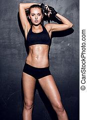 ung, fitness, kvinna