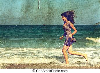 ung flicka, hos, den, sea., foto, in, gammal, färg avbild,...