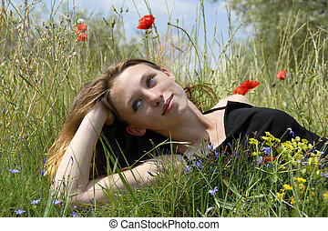 ung flicka, in, a, fält