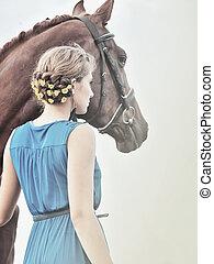 ung flicka, med, häst