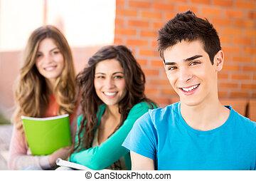 ung, grupp, av, deltagare, in, campus