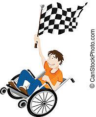 ung, handikappat, man, in, rullstol, med, vinnare, flag.