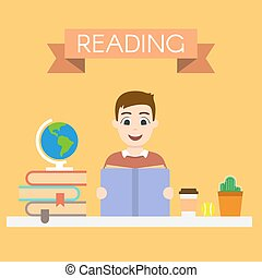 ung, illustration, vektor, bemanna läsa, bok, stilig