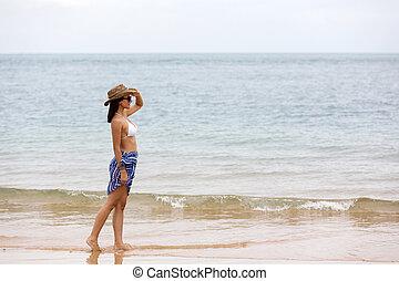 ung kvinde, gå, stranden