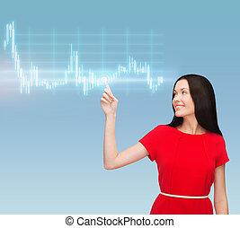 ung kvinde, ind, rød klæd, pege, hende, finger