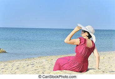 ung kvinde, portræt, stranden