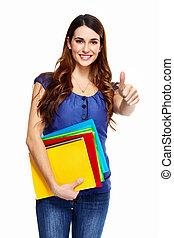 ung kvinde, student, hos, en, book.