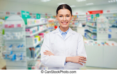 ung kvinna, apotekaren, apotek, eller, apotek