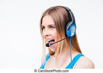 ung kvinna, assistent, operatör, skrikande, in, hörlurar med mikrofon