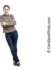 ung kvinna, benägenhet mot någonting, på, a, vit fond