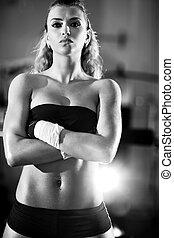 ung kvinna, efter, viktutbildning
