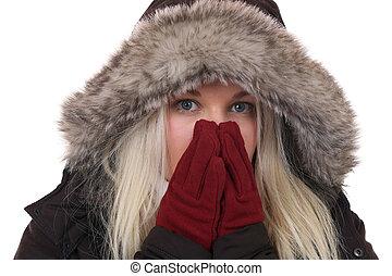 ung kvinna, frysa, in, den, kall, in, vinter, med, handskar,...