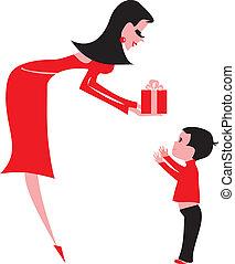 ung kvinna, ge en gåva, till, a, child-boy