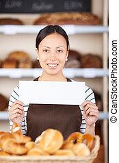ung kvinna, hos, bageri, disk, visa, papper