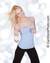 ung kvinna, in, fitness, ha på sig