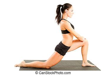 ung kvinna, in, sporter bh, på, yoga framställ, på,...