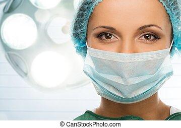 ung kvinna, läkare, in, mössa, och, ansikte mask, in,...