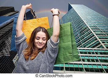 ung kvinna, med, handling väska