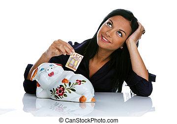 ung kvinna, med, piggy packa ihop, och, euro sedlar