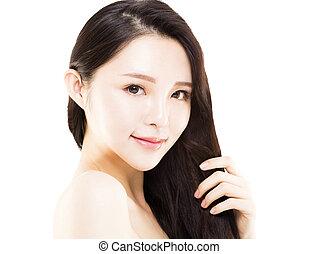 ung kvinna, rörande, henne, länge, och, hälsosam, hår