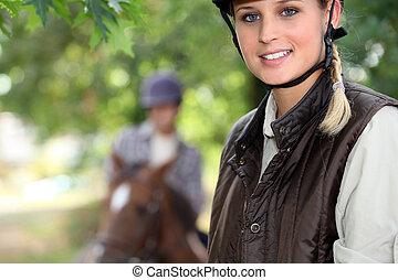 ung kvinna, ridande, a, häst