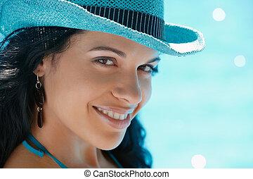 ung kvinna, sittande, in, badbassäng