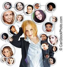 ung kvinna, social, nätverksarbetande