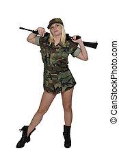 ung kvinna, soldat